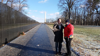 Attorney Dan Kosmowski with his father with dementia and PTSD at the Vietnam Veterans Memorial in Washington DC