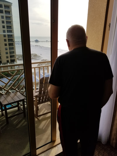 My father with dementia enjoys the view, which helps calm him.